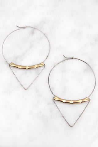 Metals and Forms Triangle Earrings