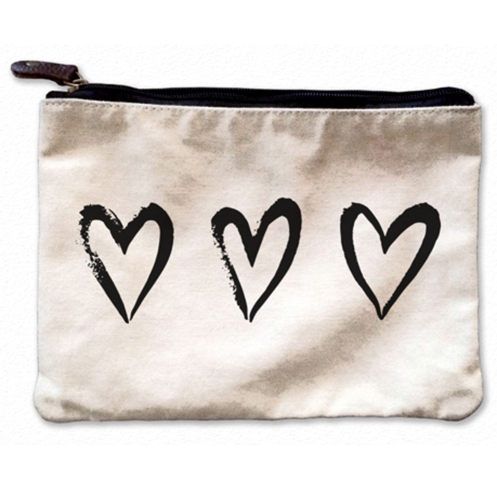 3 Hearts Canvas Pouch