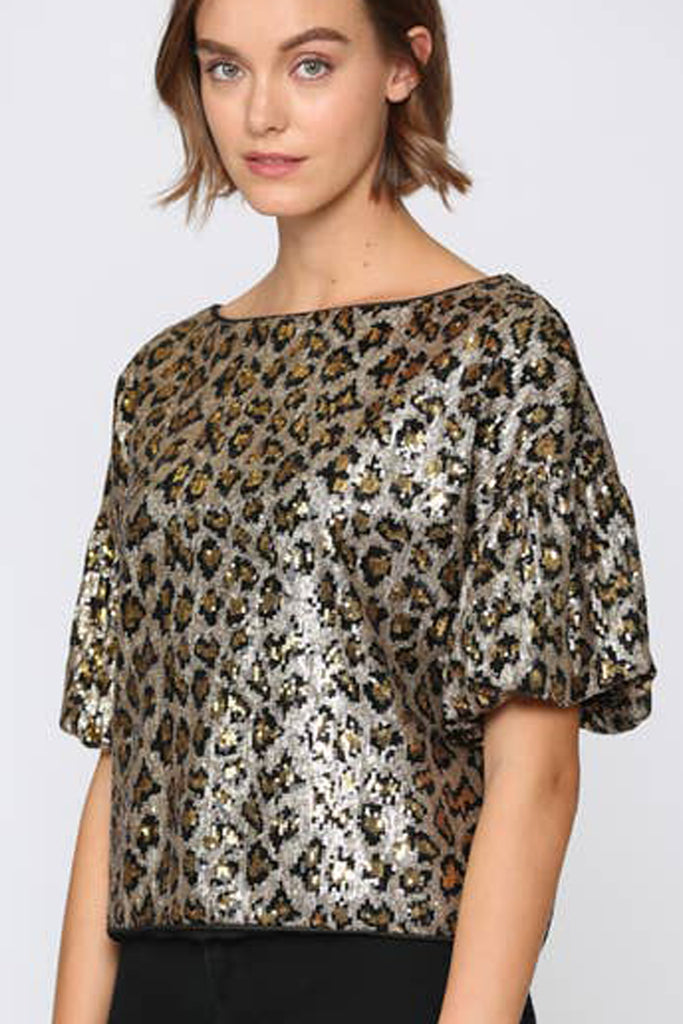 Sequin Animal Print Top