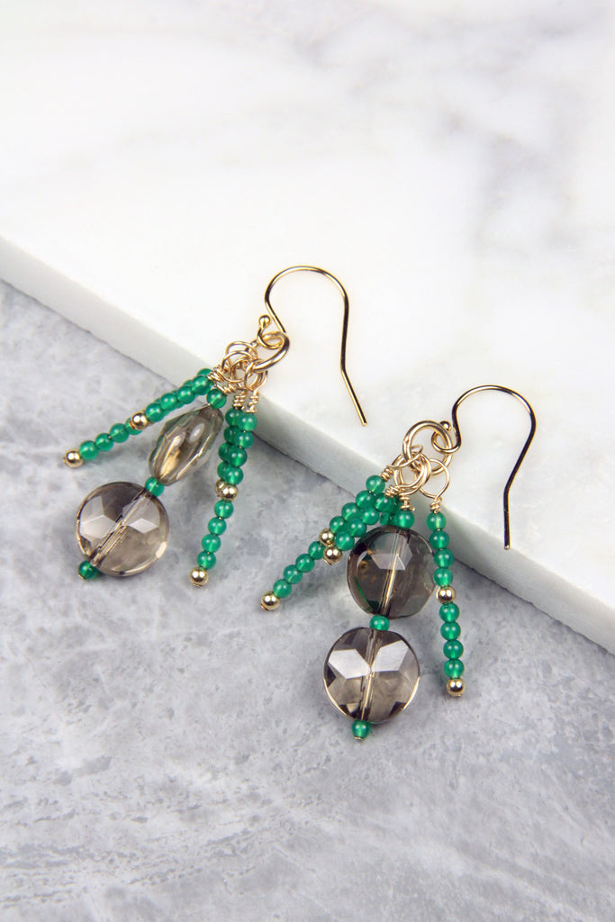 Smoky Quartz and Green Onyx Earrings