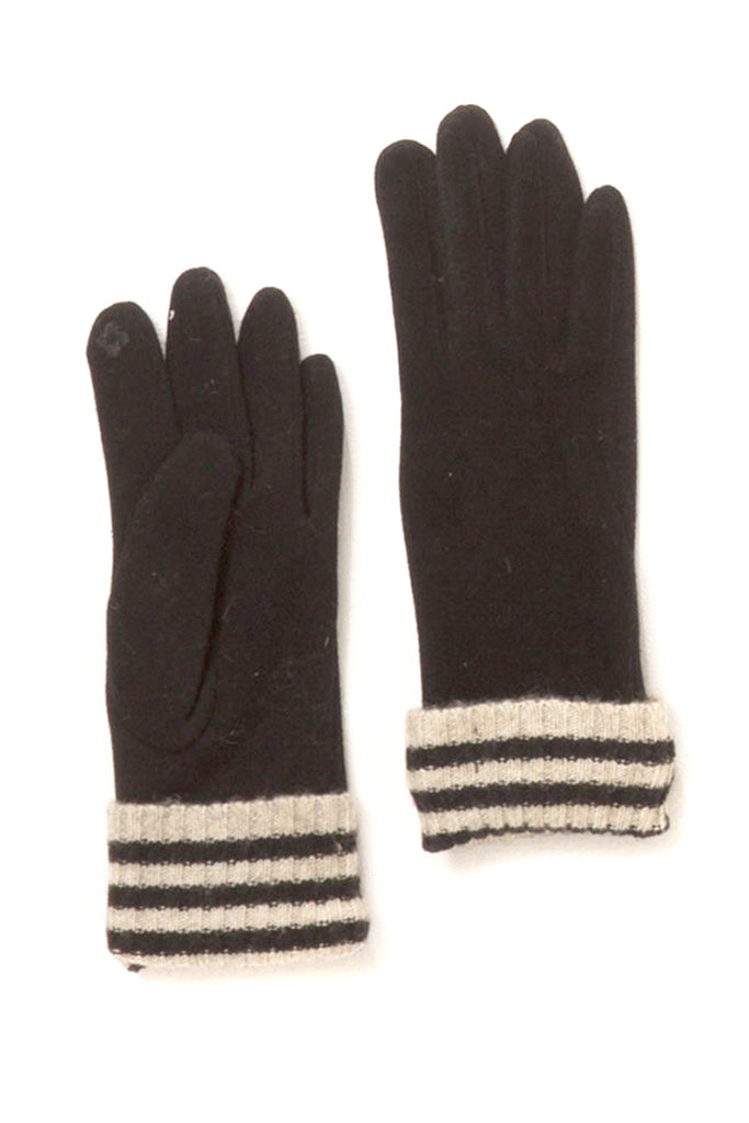 Striped Suede Gloves