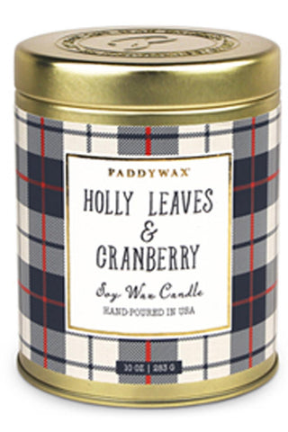 Holly Leaves & Cranberry 10 oz. Tartan Candle