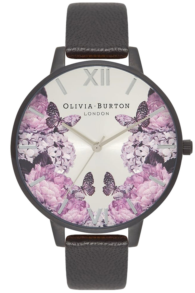 After Dark Floral Matte Black and Silver Watch
