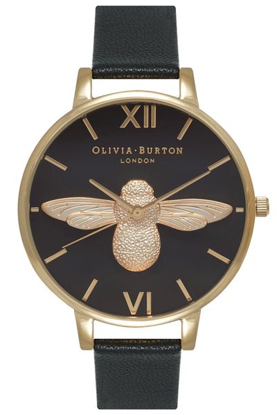Animal Motif Moulded Bee Black Dial and Gold Olivia Burton OB15AM64