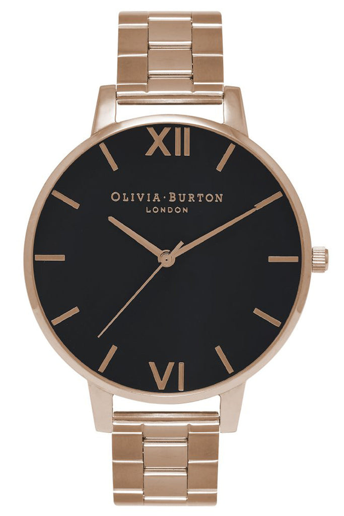 Big Dial Bracelet, Black Dial and Rose Gold Olivia Burton OB15BL23
