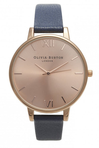 Olivia Burton vintage inspired watch, big dial navy and rose gold, code OB13BD13B