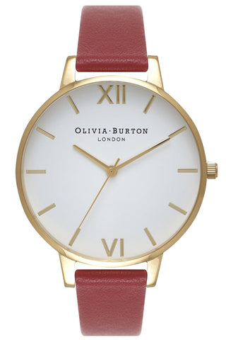 Big Dial White Dial Red and Gold Olivia Burton Watch OB15BDW01