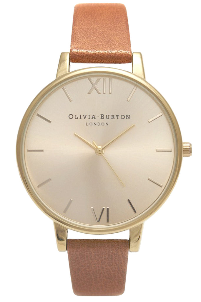 Big Dial Tan and Gold Olivia Burton OB13BD09