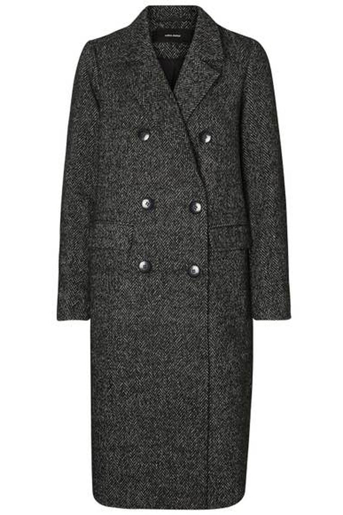 Herringbone Long Wool Coat