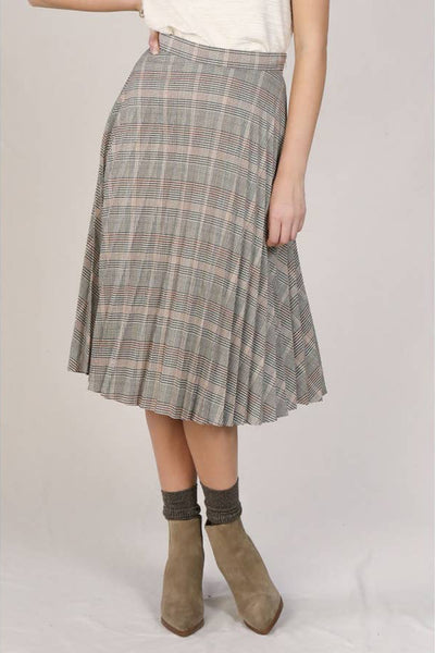 Pleated Plaid Midi Skirt