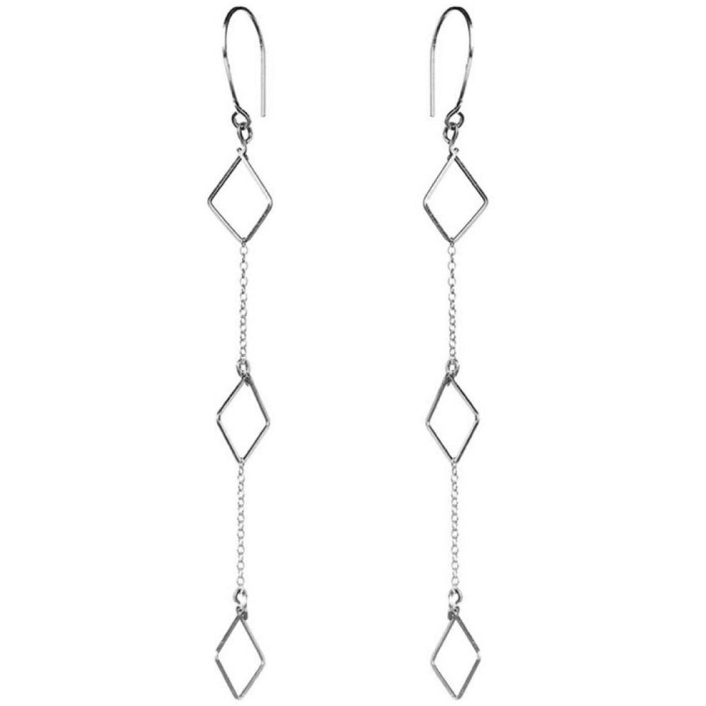 Triple Diamond Drop Earrings