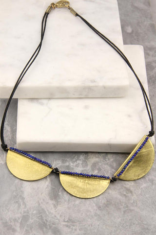 Lazur Brass and Lapis Necklace
