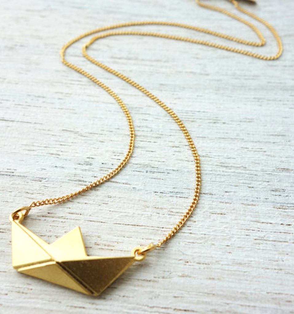 Origami Boat Necklace