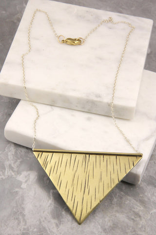 Aurora Brass and Silver Reverse Triangle Necklace