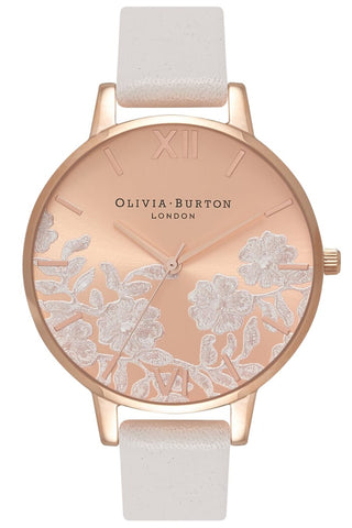 Lace Detail Blush and Rose Gold Watch OB16MV53 Olivia Burton