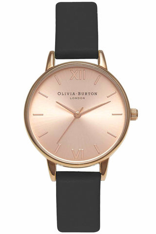 Midi Dial Black and Rose Gold Olivia Burton OB15MD39