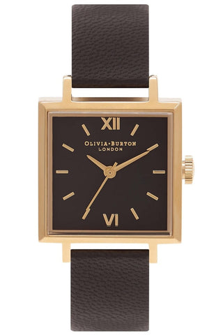 Midi Square Dial Black and Gold Watch