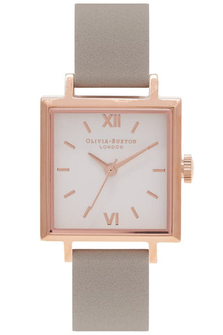 Midi Square Dial Gray and Rose Gold Watch