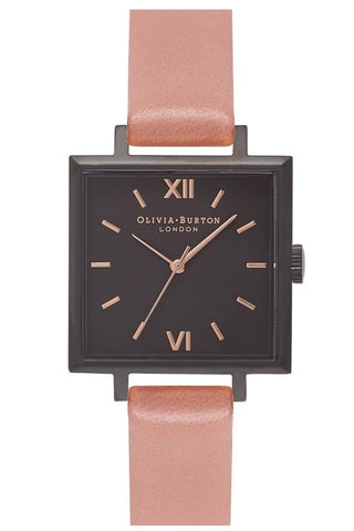 Midi Square Dial Rose, Matte Black and Rose Gold Watch