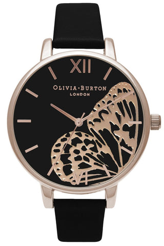 Applied Wing Black and Rose Gold Watch OB16AM97 Olivia Burton