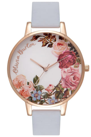 English Garden, Chalk Blue and Rose Gold Watch