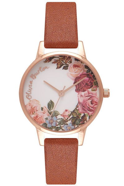 English Garden Midi Dial Tan and Rose Gold Watch