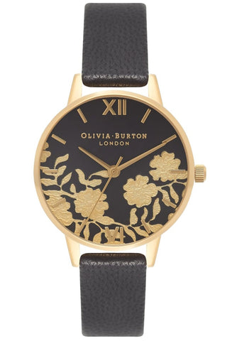 Midi Lace Detail Black and Gold Watch