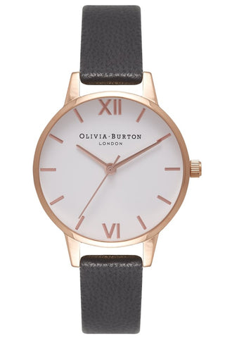 Midi White Dial, Black and Rose Gold Watch