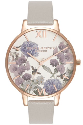 Olivia Burton UK watch, Parlour Bee Blooms, Gray and Rose Gold OB16PL30