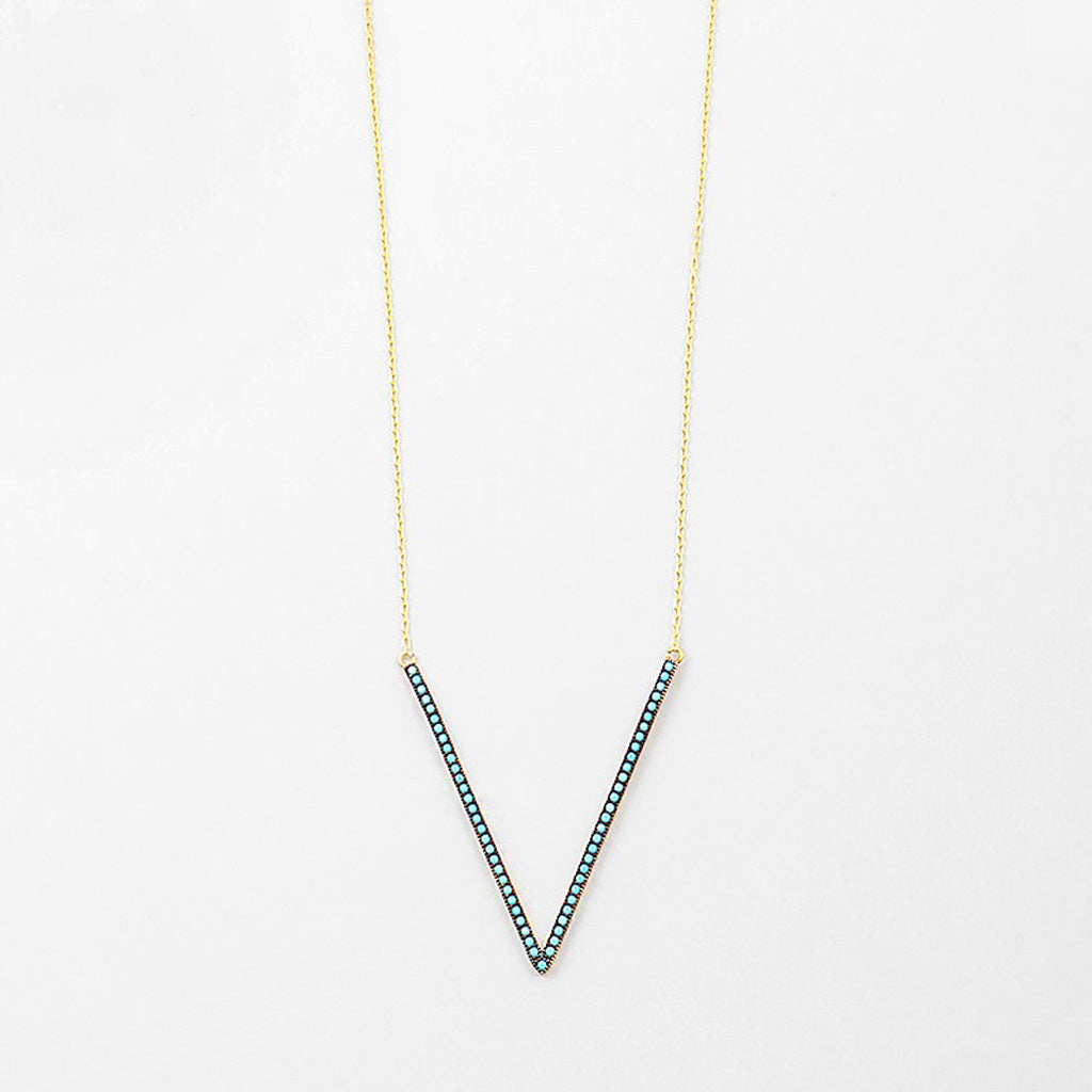 Gold Plated V Turquoise Necklace