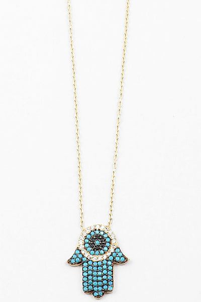 Gold Plated Turquoise Hamsa Necklace