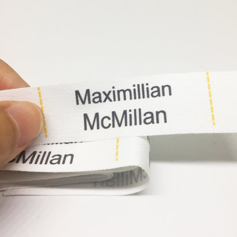 Fabric sew-on name labels (Size M 60x20mm 20 labels/set)