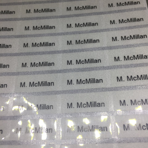 Transparent name labels (Size S 22x9mm 64 labels/set)