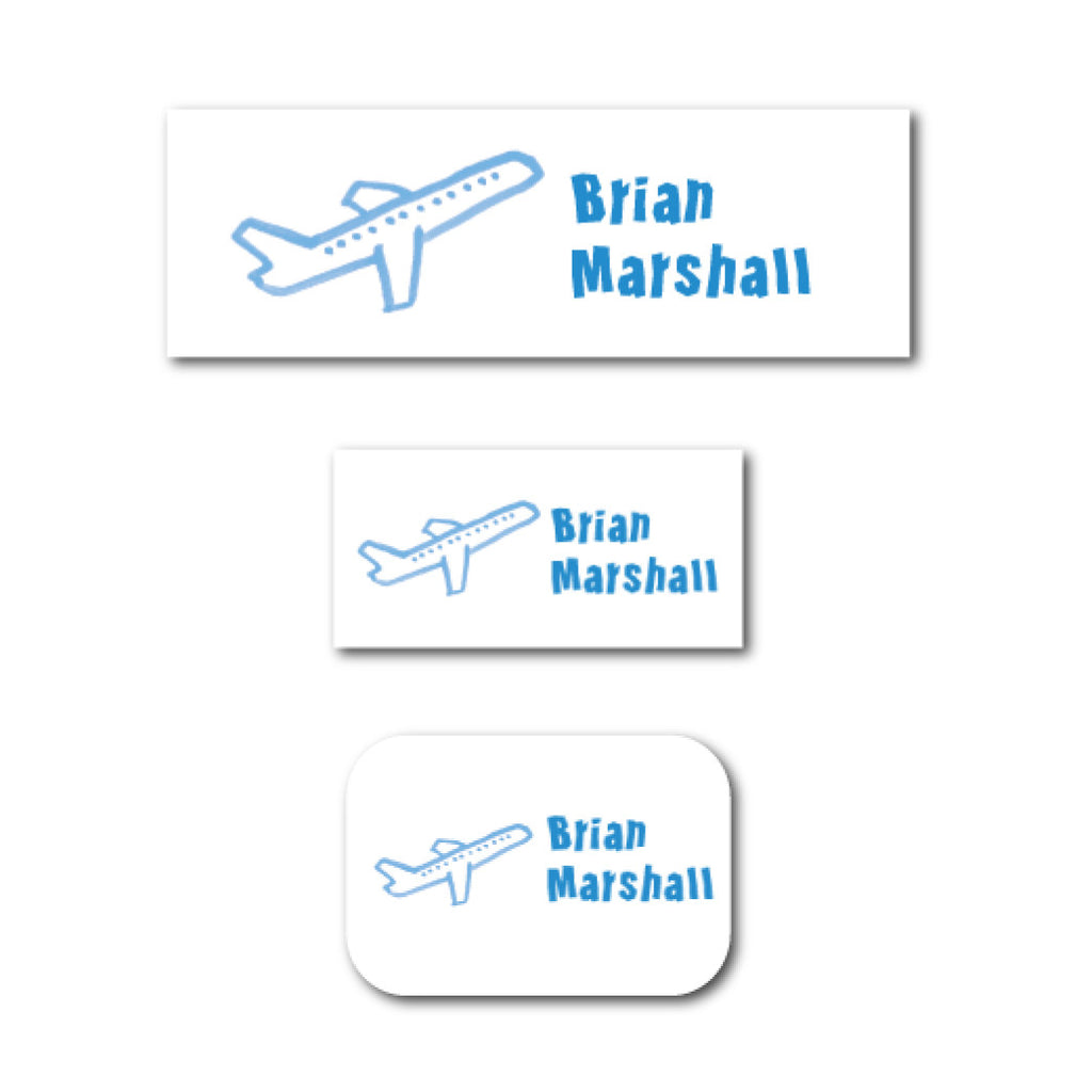 Blue aircraft name labels