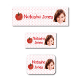 Sweet apple with photo name labels