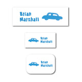 Blue car name labels