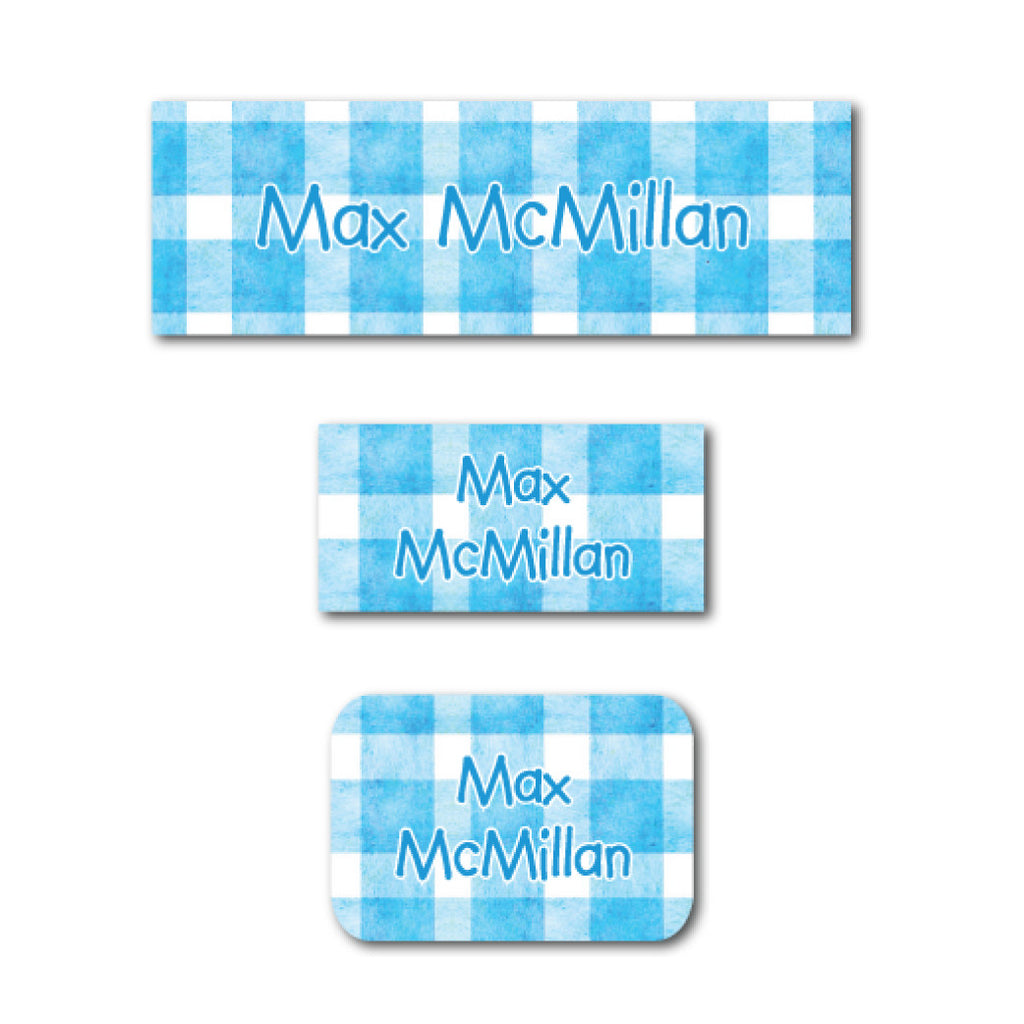 Blue checkers name labels