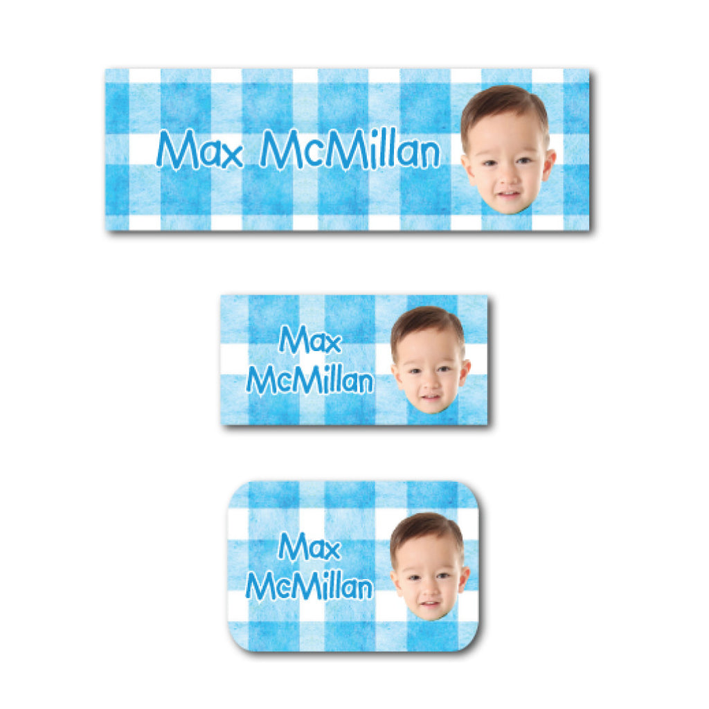 Blue checkers with photo name labels