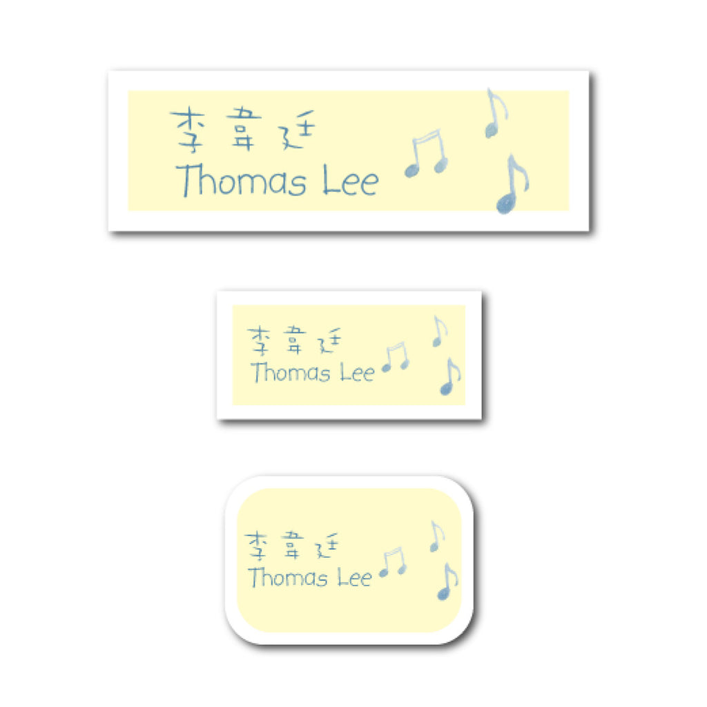 Blue music notes name labels