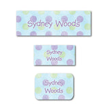 Blue polka dots name labels