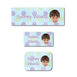 Blue polka dots with photo name labels
