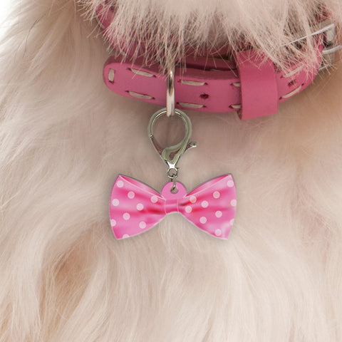 Club Round Pink Bow Tie | Personalized Pet ID Tags for Dogs & Cats by Blank Sheet