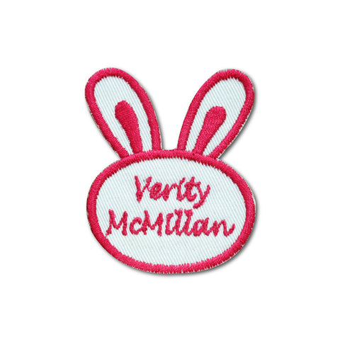 Embroidered name patch bunny