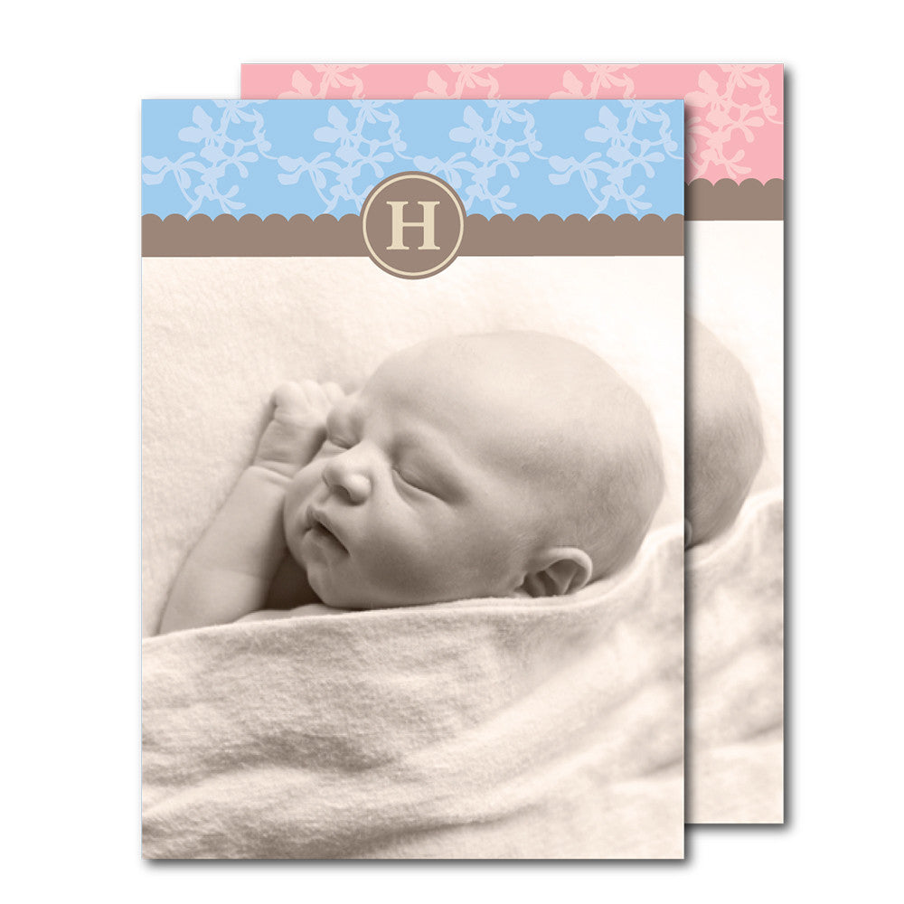 Classy Monogram Birth Announcements