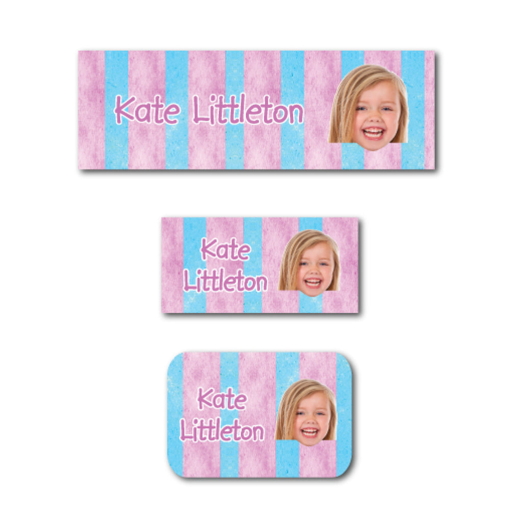 Cotton candy stripes with photo name labels