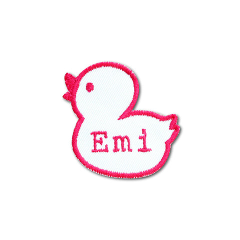 Embroidered name patch duck