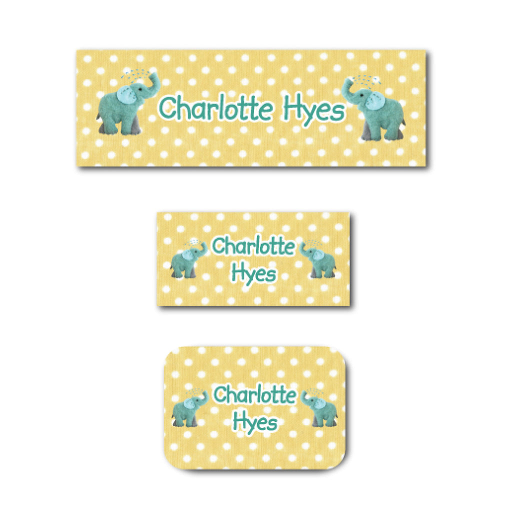 Playful elephants name labels