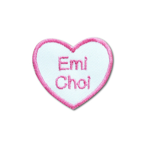 Embroidered name patch heart