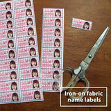 Iron-on fabric name labels
