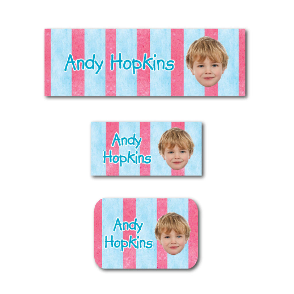 Lovely stripes with photo name labels